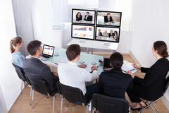 Group of businesspeople in video conference Kuvituskuvat