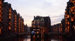 Hamburg, warehouse district with watercastle Stock Footage