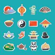 China icons stickers - stock illustration