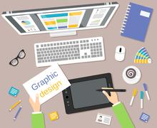 Designer workplace top view - stock illustration