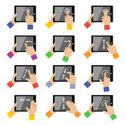 Tablet touch gestures - stock illustration