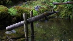 Shishi Odoshi (Bamboo Pig Scarer) in a Japanese Garden Stock Footage