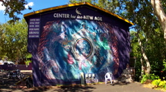 Center For The New Age Building With Mural- Sedona AZ Stock Footage