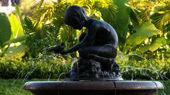 Boy and Bird Statue Boston Public Garden Stock Photos