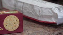 Box of Healthy Crackers - stock footage