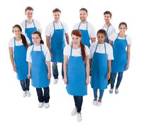 diverse group of professional cleaners - stock photo