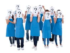 cleaners showing question sign - stock photo