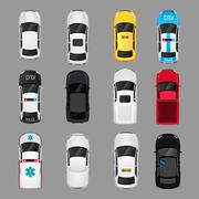 Stock Illustration of Cars icons top view