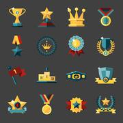 Award icons set - stock illustration