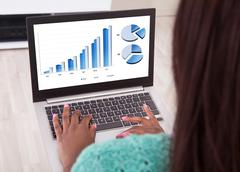 businesswoman analyzing graphs on laptop at home - stock photo