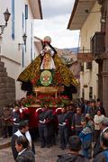 Cusco, Peru - August 30, 2014: Religious Procession - stock photo