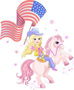 cowgirl with usa flag - stock illustration