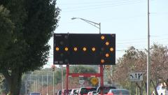 Detour flashing arrow sign - stock footage
