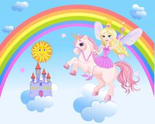 sky castle and rainbow little fairy and unicorn - stock illustration