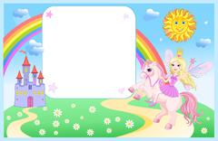 castle and rainbow little fairy and unicorn - stock illustration