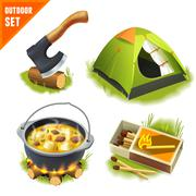 Stock Illustration of Camping icons set