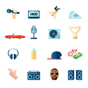 Rap music icons set flat - stock illustration