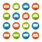Sofa Icons Flat Stock Illustration