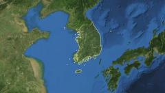 South Korea. 3d earth in space - zoom in on South Korea contoured 4k Stock Footage