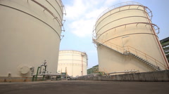Video panning in Tank farm in industrial palnt Stock Footage