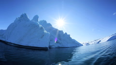Greenland Climate Global Iceberg Floes Icefjord Sea Arctic Circle Blue Sky - stock footage