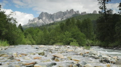 Castle Crags, Upper Sacramento River and a creek Stock Footage