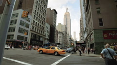 Empire State Building Manhattan New York City Intersection NYC Traffic  Stock Footage