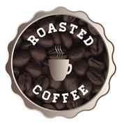 roasted coffee sign - stock illustration