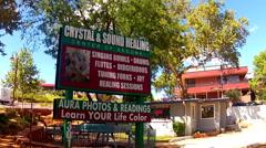 Sign- Crystal And Sound Healing Center Of Sedona Arizona Stock Footage