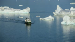 Global Warming Melting Iceberg Sea Fishing Boat Trawler Icefjord Disko Bay Stock Footage