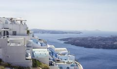 Beautiful scenery of Thira Stock Photos
