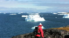 Lone Female Success Expedition Greenland Disko Bay Melting Drifting Glacial Ice Stock Footage