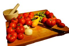 harvest bounty - tomatoes, squash and green beans - stock photo
