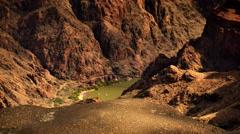 4K Grand Canyon South Rim  14 Colorado River rafts arrive at Kaibab  Bridge Stock Footage