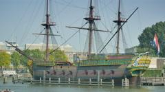 4K East Indiamen Amsterdam ship Stock Footage