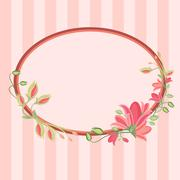 Greeting card with floral wreath Stock Illustration