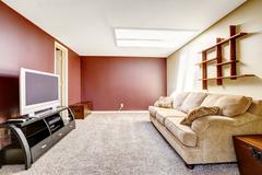 Living room with contrast color walls Stock Photos