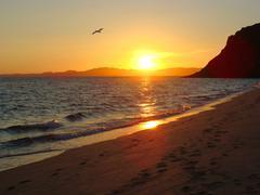 Sunset in Kino Bay Sonora Mexico Stock Photos