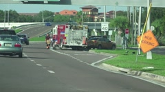 Fire Truck And Fire Man At Car Crash On Freeway 4K Stock Footage
