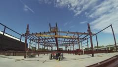 Steel Building Being Erected Stock Footage