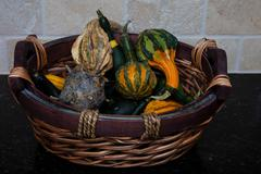 Gourds in a basket - stock photo