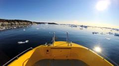 POV Drifting Melting Icebergs Boat Frozen Polar Icecap Rising Sea Temperatures - stock footage