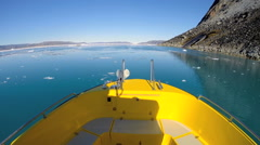 Disko Bay POV Eco Tourism Boat Travel Warming Glacial Drifting Frozen Mass - stock footage