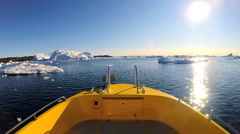 Arctic Circle POV Boat Conservation Global Melting Polar Icecap Pollution - stock footage