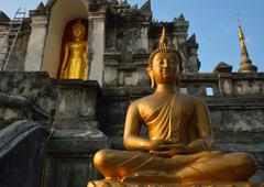 thai temple of buddhism, wat phra yuen is thai temple in lamphun, northern th - stock photo