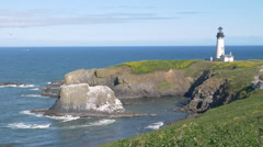 Yaquina Head Lighthouse, Oregon (zoom out) Stock Footage