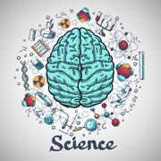 Stock Illustration of Brain sketch science concept