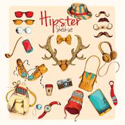 Hipster sketch set Stock Illustration