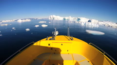 Disko Bay POV Eco Tourism Boat Travel Warming Glacial Drifting Frozen Mass Stock Footage