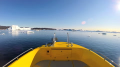 POV Disko Bay World Heritage Site Travel Tourism Melting Glacial Environment Stock Footage